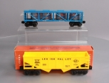 Lionel 6176 Yellow Lehigh Valley 2-Bay Hopper & 6475 Libby's Pineapple Vat Car