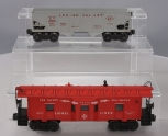 Lionel 6456 Gray LV 2-Bay Hopper Car w/Red letters & 6517 LL Bay Window Caboose
