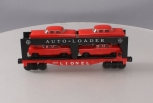 Lionel 6414 Evans Autoloader with 4 Red Autos with Gray Bumpers EX