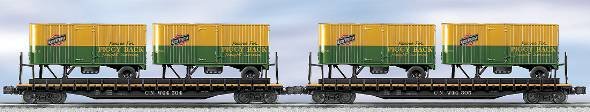 Lionel 6-21859 Chicago & North Western PS-4 Flatcar W/Trailers (2Pk.) LN/Box 023922218599 Lionel 6-21859