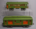 Lionel 310 Railway Mail Tinplate Baggage Car & 312 Tinplate Observation Car