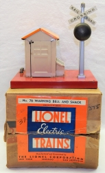 Prewar Lionel 76 Warning Bell & Shack Original Box Metal tinplate Orange Ringing