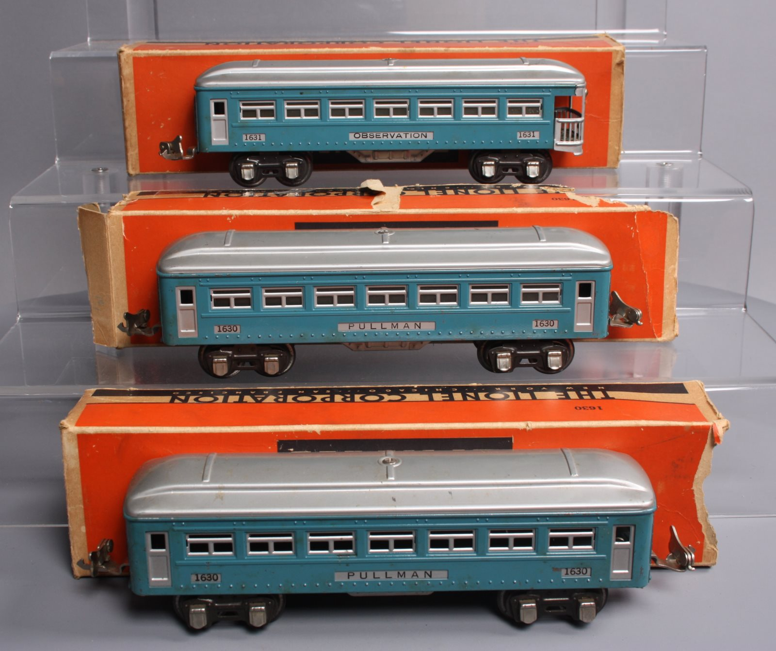 Lionel 1630S Blue & Silver Tinplate 3-Car Pullman Set: 1630, 1630, 1631/Box  Lionel 1630S