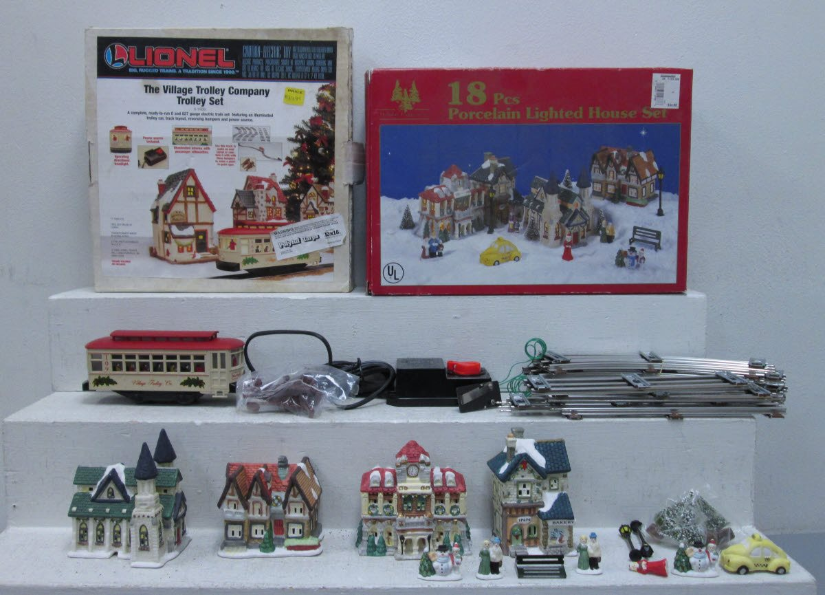 o scale porcelain lighted house set christmas village trolley 2box zoom photo from seller o scale porcelain lighted house set christmas village