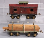 Ives O Gauge Prewar 67 Cabooses & Undecorated Flatcar w/Lumber [2]