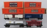 Lionel Postwar Freight Cars: 2555, 6672, 6468 and 6417 (4)/Box