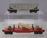 Lionel 6264 Flatcar with Forklift Timber Load & 6456 Lehigh Valley Hopper - Gray