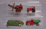 Hubley & Other Vintage Cast Iron Vehicles: Racecar, Truck, Tractor & Steam Shove