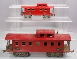 American Flyer 4021 Wide Gauge Red Tinplate Caboose & 3014 Tinplate Red Caboose