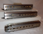 American Flyer 660 661 662 Aluminum Passenger Cars Metal lighted combine/dome/co