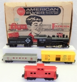 Clean 1961 American Flyer 20705 Pioneer Flyer ERIE 4-4-0 Steam Freight set OB S