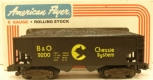 American Flyer 4-9200 S Scale Chessie/B&O 2-Bay Hopper w/Coal Load LN/Box