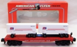 American Flyer 6-48491 Burlington Northern BN Flatcar w/ 2 Trailers / Vans TCA
