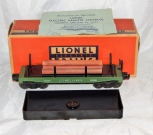 Lionel 3461-25 GREEN Die Cast Automatic Log Dump car w/stakes logs instrctns box