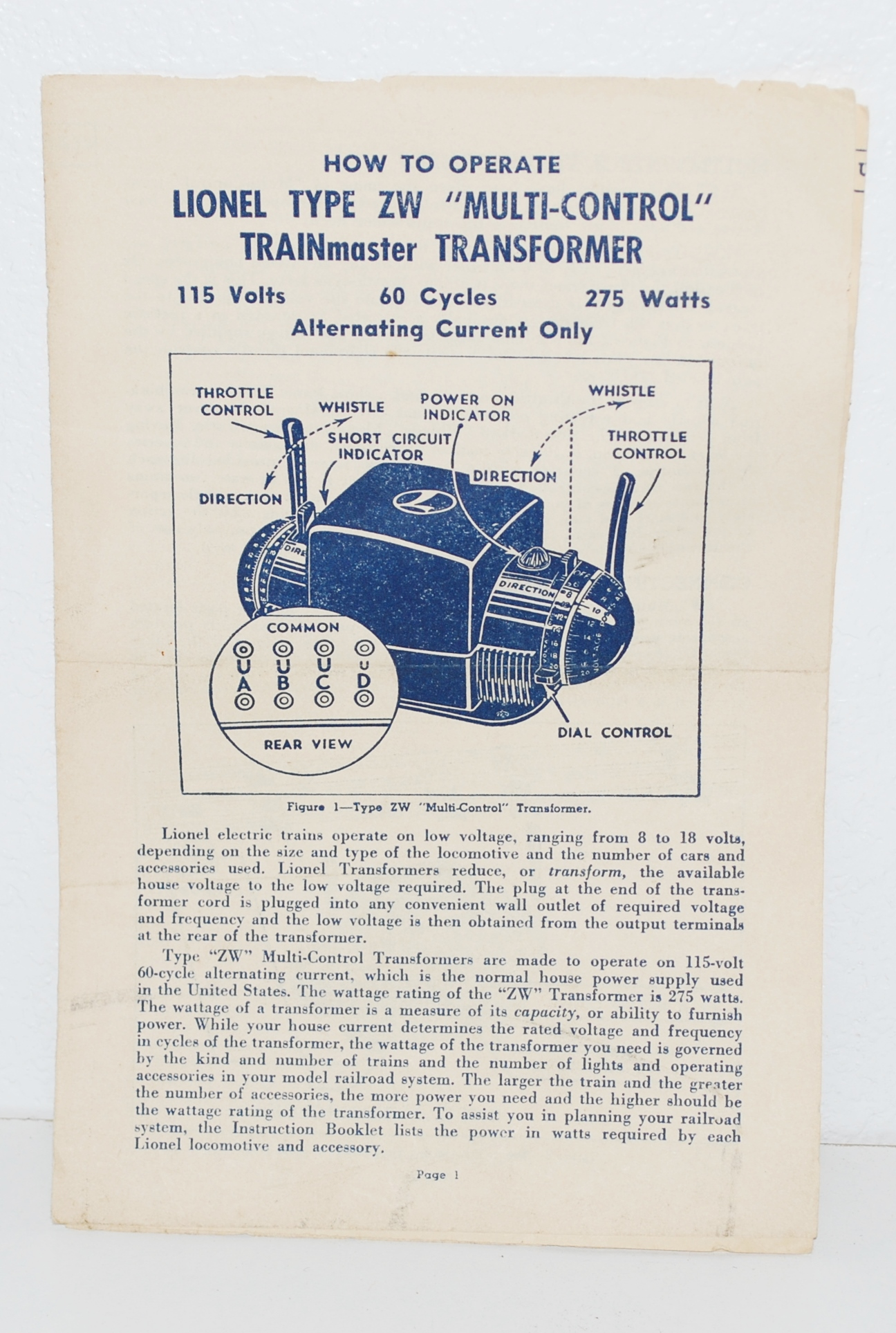 Lionel ZW transformer INSTRUCTIONS ZW-134 4-54-TT Blue print 6 pages. Zoom.  Photo from Seller. Lionel ZW transformer INSTRUCTIONS ...