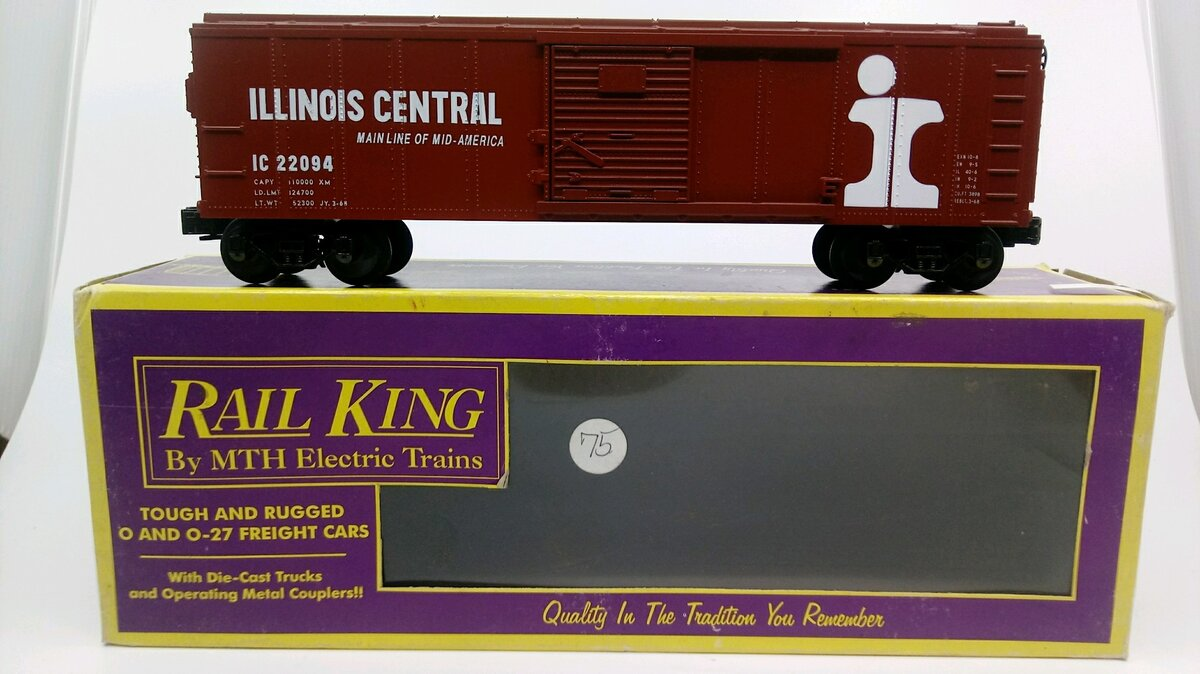 MTH 20-7902 O Gauge Illinois Central Boxcar w/ Freight Sound LN/Box  MTH 20-7902