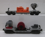 Lionel 6520 Operating Searchlight Car & 3650 Operating Extension Searchlight Car