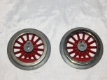 Two Standard Gauge Wheels 14 Red Spokes by McCoy New Old Stock metal  for prewar