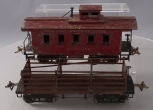 Ives Standard Gauge Vintage Tinplate Freight Cars: 195 Caboose & 191 Stake Gondo