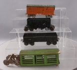 Lionel Standard Gauge Vintage Tinplate Freight Cars: Stock Car, Boxcar, Gondola,
