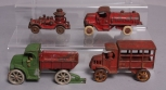 Vintage Cast Iron Trucks: Fire Truck, Dump Truck, Tanker, Delivery [4]