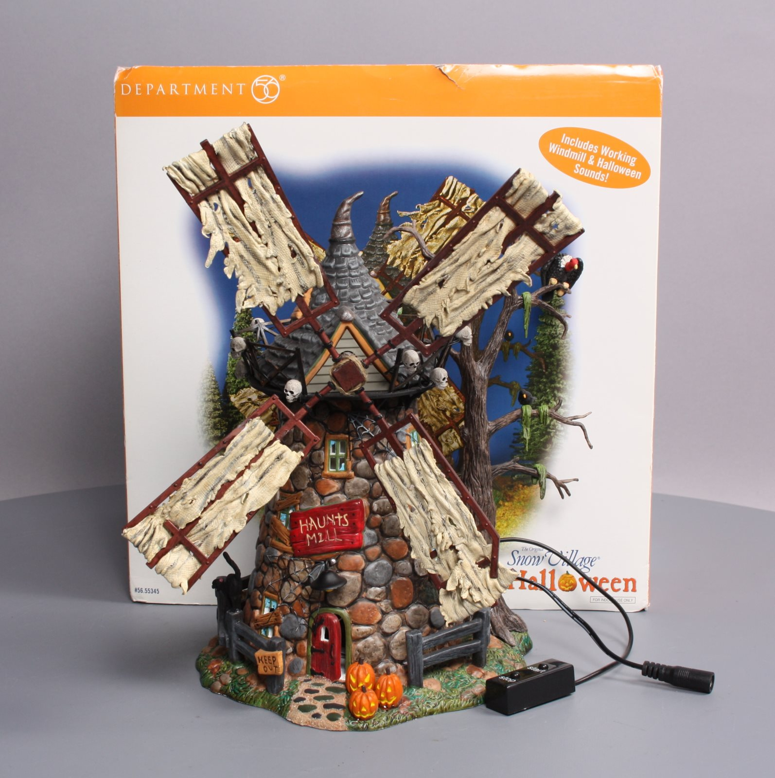 snow village halloween haunted windmill lnbox dept 56 55345 zoom photo from seller