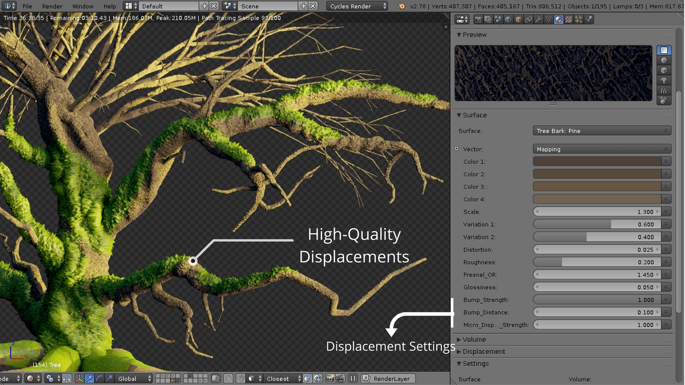 Pine and Moss Shaders used on a tree - Highly Detailed Displacements