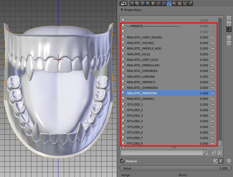 Jaw with teeth and tongue base mesh generator