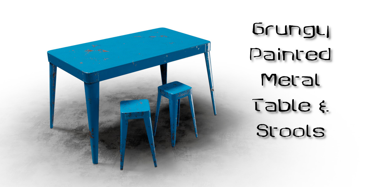 Painted Metal Table & Stools