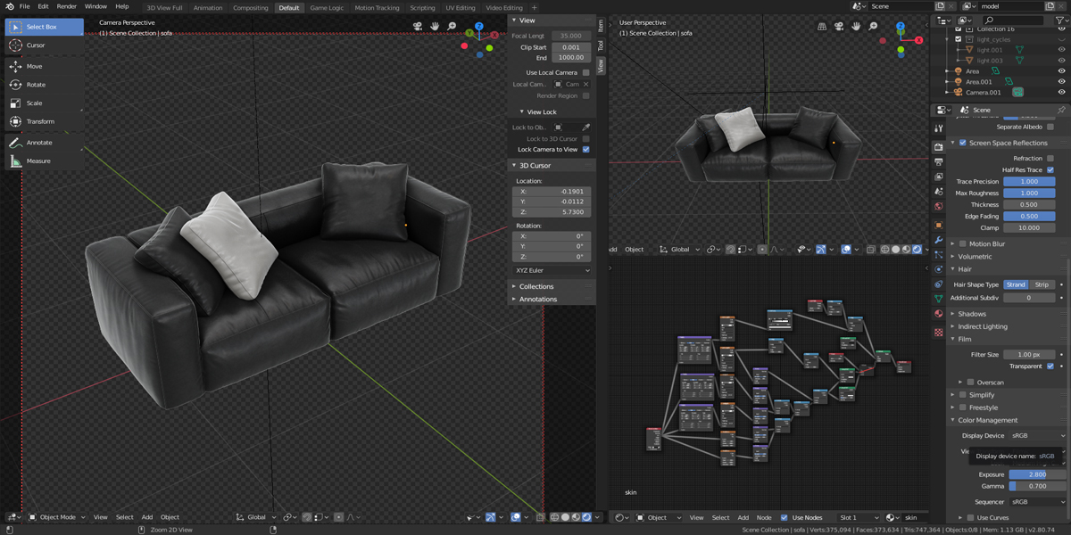 Modeling a leather couch in Blender + Scene 2 8 Eevee