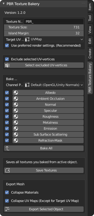 PBR Texture Bakery (for Eevee & Cycles)