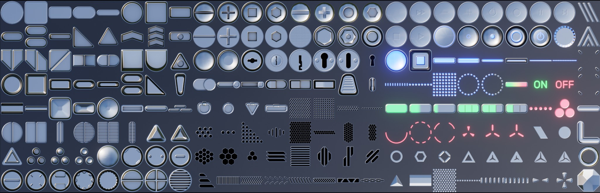 200 Hard Surface Decals for Decal Machine 2.1 in Blender