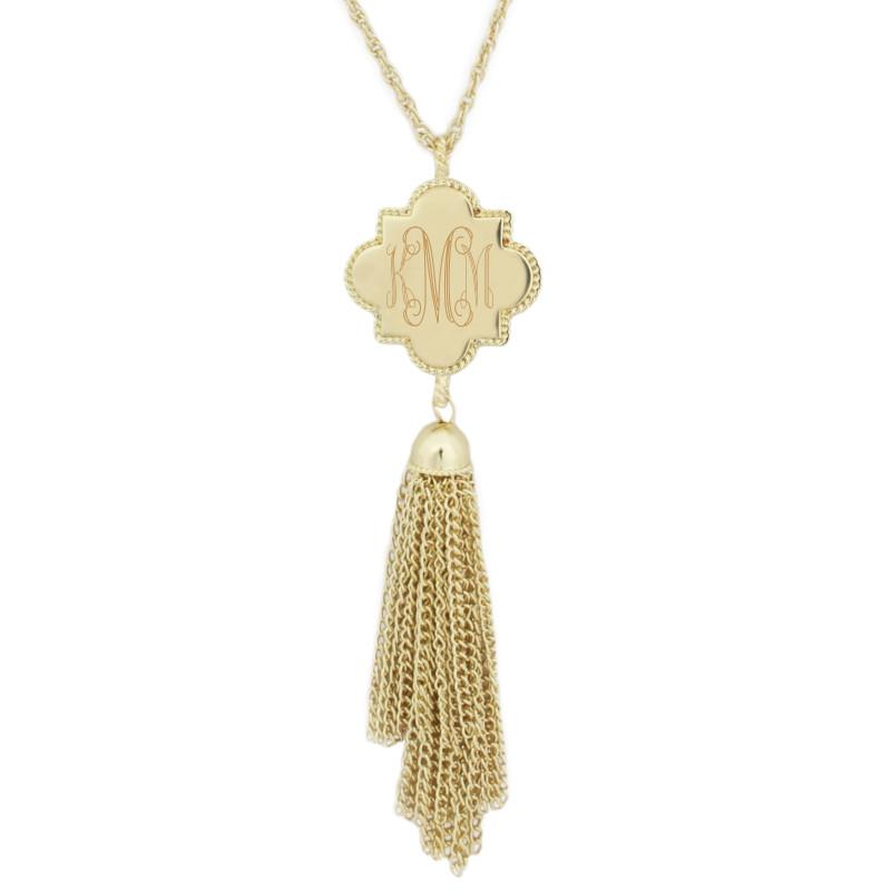 monogrammed quatrefoil tassel necklace