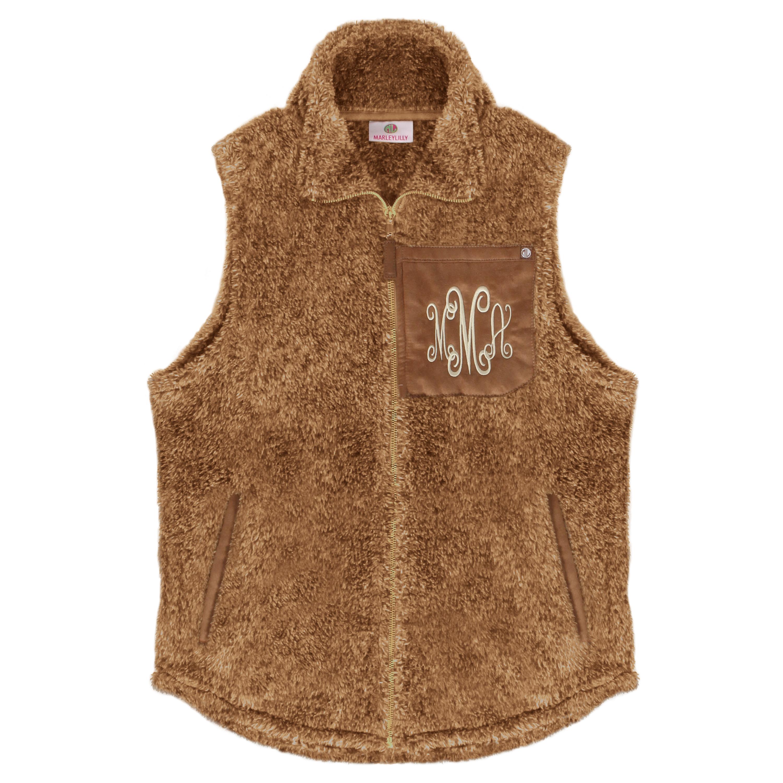 monogrammed sherpa vest