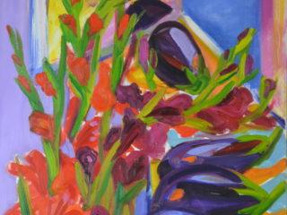 Eggplant and Gladiolas
