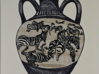 Zebra Amphora Jar Series (grass paper chine-colle, printed on grey paper)