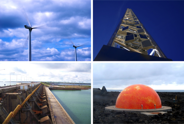 Energy alternatives of the future, include clockwise from left wind, solar, hydroelectric and geothermal. (Photos: V. Walker, V.Everett, G. Giardino, R. Gould/CC-BY-2.0)