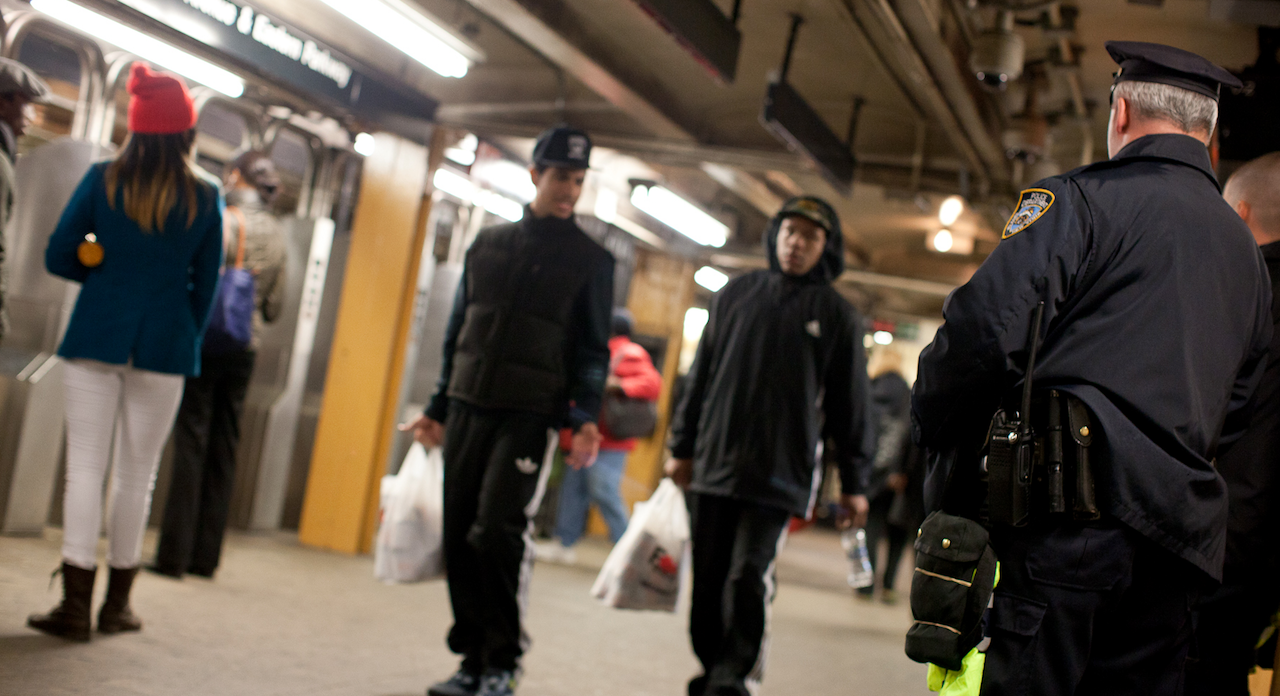 New York Police Department officers on a patrol shift at the Franklin Avenue subway station on a recent Saturday night.