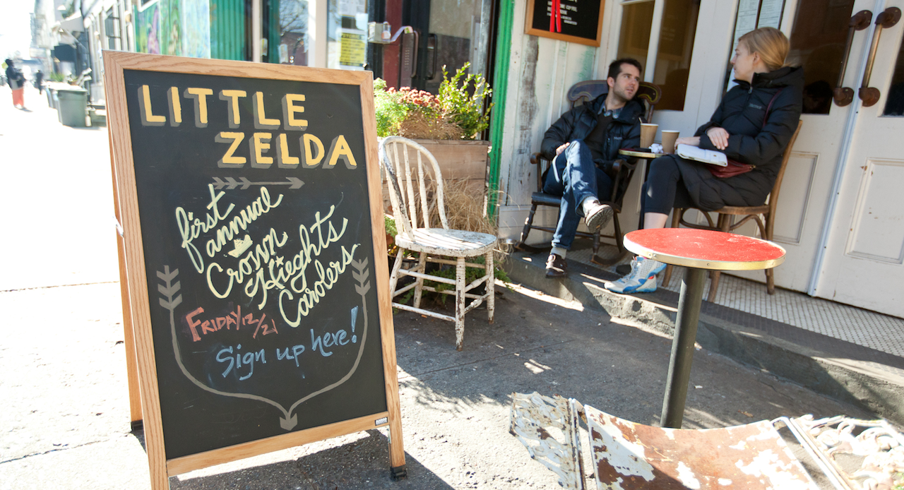 Patrons outside Little Zelda, a cafe on Franklin Avenue in Crown Heights