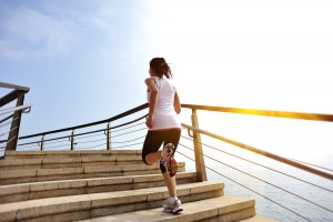 woman with plenty of energy to run up the stairs and exercise