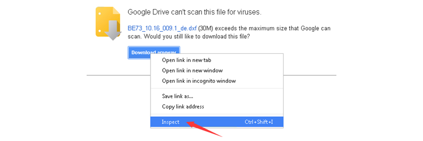 How to skip Google drive virus scan warning about large