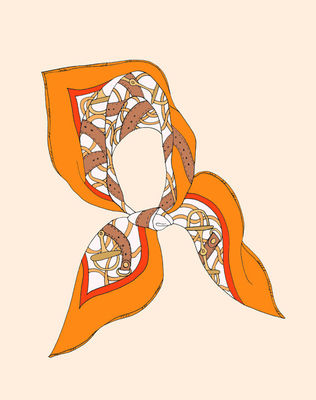 Hermes-scarf-orange-poster-art-print-illustration