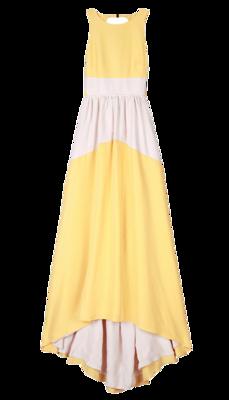 Color-block-silk-long-dress