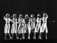Gjon-mili-saks-fifth-avenue-fashion-shot-of-model-swinging-golf-club