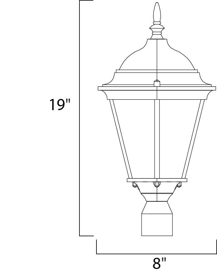 Maxim Westlake Outdoor Pole/post Mount Model: 1001BK Line Drawing