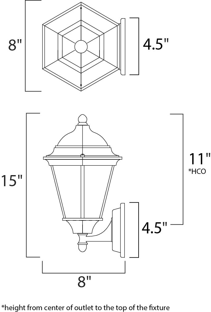 Maxim Westlake Outdoor Wall Mount Model: 1002BK Line Drawing