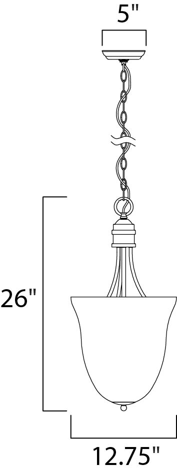 Maxim Logan Entry Foyer Pendant Model: 10048FTOI Line Drawing