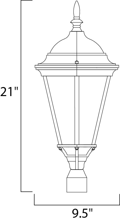 Maxim Westlake Outdoor Pole/post Mount Model: 1005BK Line Drawing