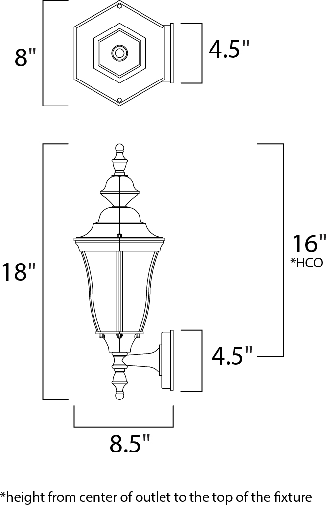 Maxim Madrona Outdoor Wall Mount Model: 1012BK Line Drawing