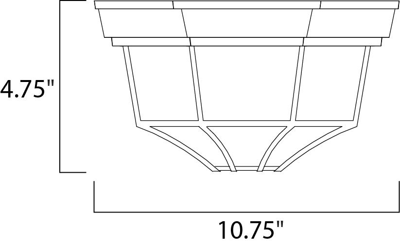 Maxim Crown Hill Outdoor Flush Mount Model: 1020BK Line Drawing